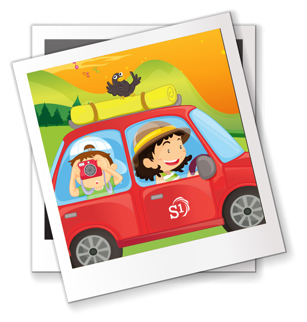 Illustration of child in car taking picture