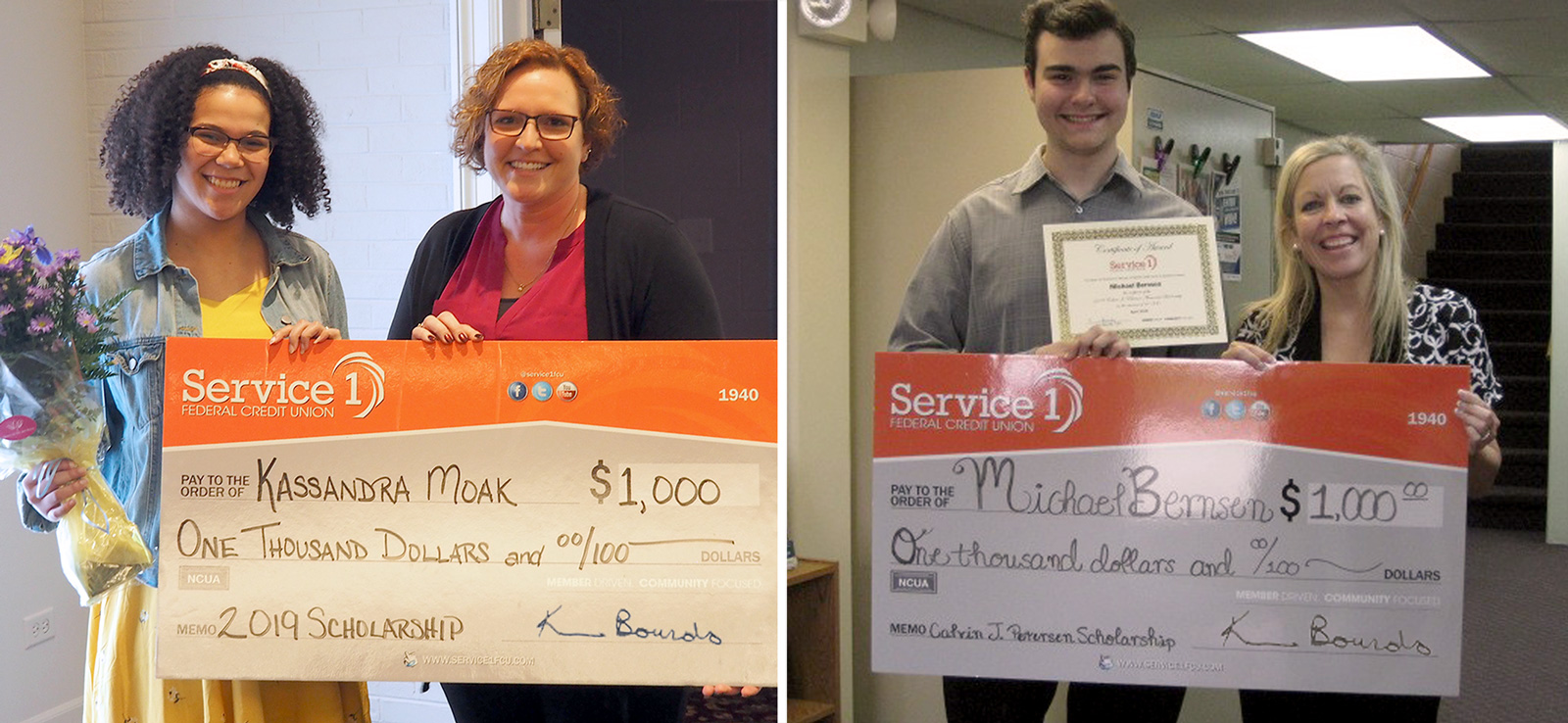 Young girl and young man receiving big checks